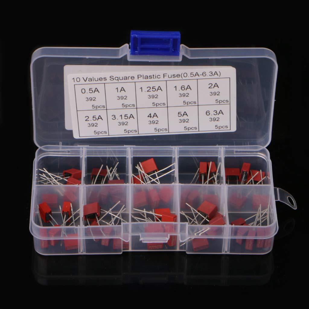 BIlinli 50 Pcs Square Plastic Fuse Kit 10 Values 0.5-6.3A For Power Board TV LCD