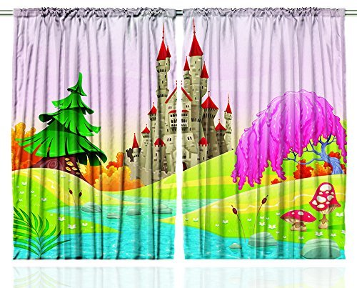 Amazon.com: Kids Curtains Fairy Castle Of Room Decor By Ambesonne, Girls  Boys 5 12 Year Old Playroom Bedroom Decorations Nursery Art Themed Drapes  Pink ...
