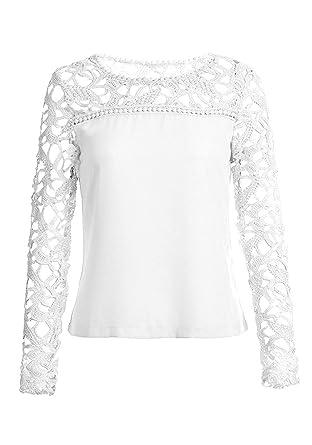 majamo Damen Bluse Shirt Top mit Spitze, Creme-Weiß, Rundhals, Langarm ( 944cc46b8c