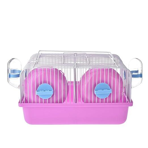 jannyshop Hamsters Portátil Jaula Pequeña Plástico Doble Jaula con ...