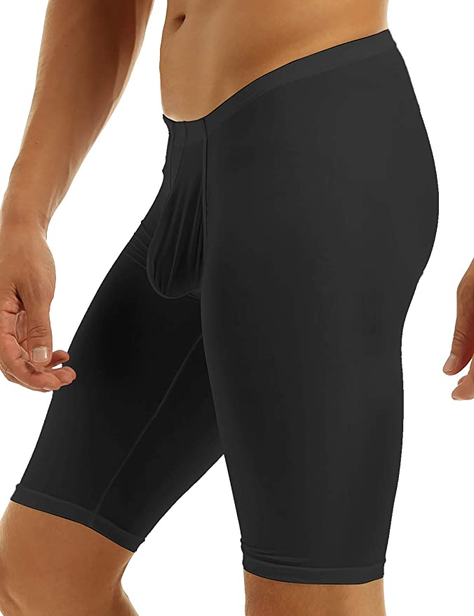 iiniim Mens Smooth Low Rise Bulge Pouch Trousers Thermal Underwear Tights Fitness Sleepwear