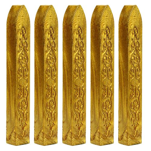 Gold Seal Homes (Sunward 5 Pcs Totem Fire Manuscript Sealing Seal Wax Sticks Wicks for Postage Letter (Gold))