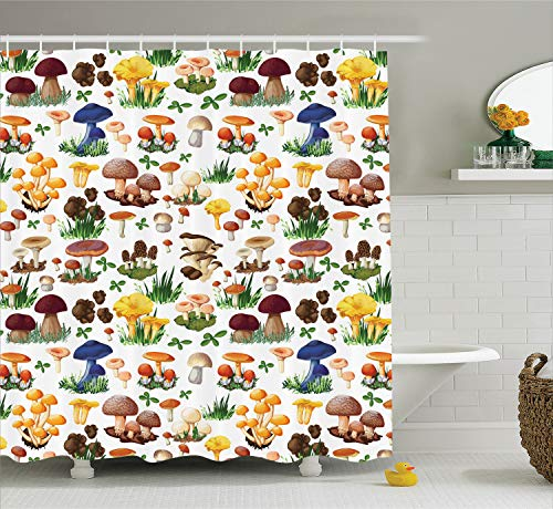 Ambesonne Mushroom Decor Shower Curtain Set, Pattern with Types of Mushrooms Wild Species Organic Natural Food from Nature Garden Theme, Bathroom Accessories, 69W X 70L Inches, - Mushroom Curtain