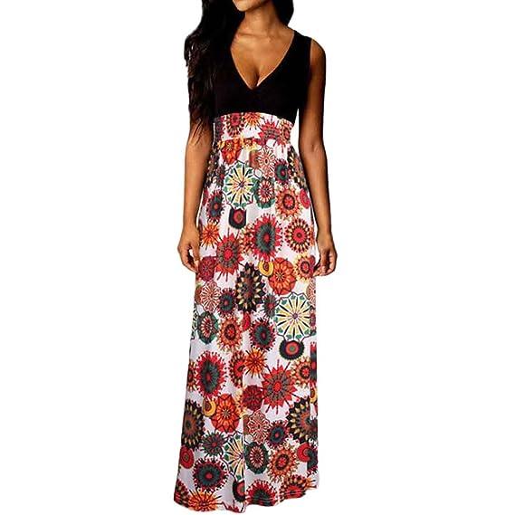 db9b0418ca15 JYC Vestidos Largos, Vestidos Mujer Verano 2018 Vintage Mujer Rayado  Bohemia Vestido,Mujer Boho Maxi Verano Playa Largo Cóctel Fiesta Floral  Vestir