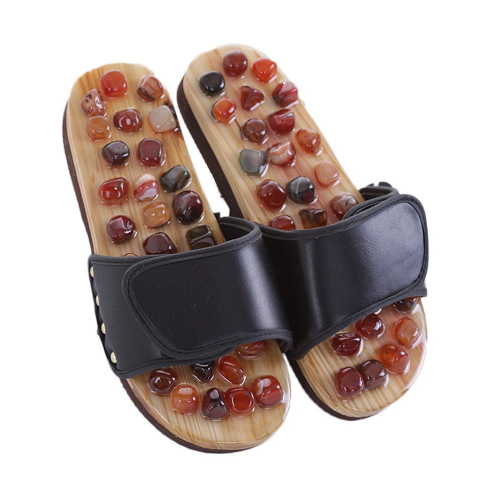 MineSign Foot Massager Slippers Plantur Arch Pain Massage Adult Unisex Shoes Agate Stone acupressure Taiji Wooden Shoes For Summer Beach Travel Relax, Black, 10-11
