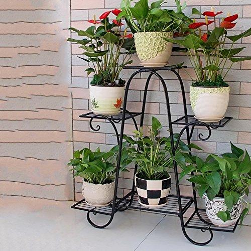 ZPMZ- Wrought Iron Flower Shelf six-Layer 73cm Floor Balcony Pot Rack Shelf Floor Living Room Indoor Flowerpot Rack Simple Hanging Orchid Stand Plants Display Rack (Color : Black) by FLOWER RACKS