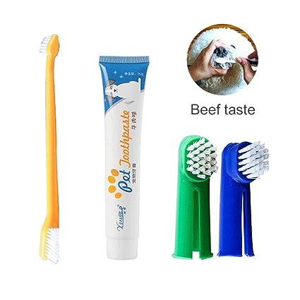 Kit de limpieza de dientes para perro/gato, cepillo de dientes y pasta de dientes para perros y gatos, kit de higiene dental (incluye 2 cepillos de dientes ...