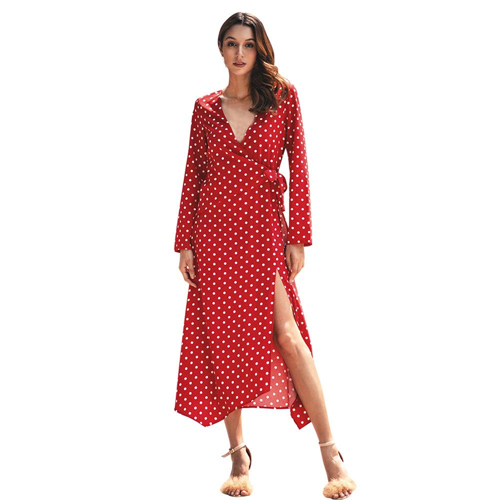 AopnHQ Womens Dress Womens Long-Sleeved Casual Long V-Neck Dot Pattern Dress