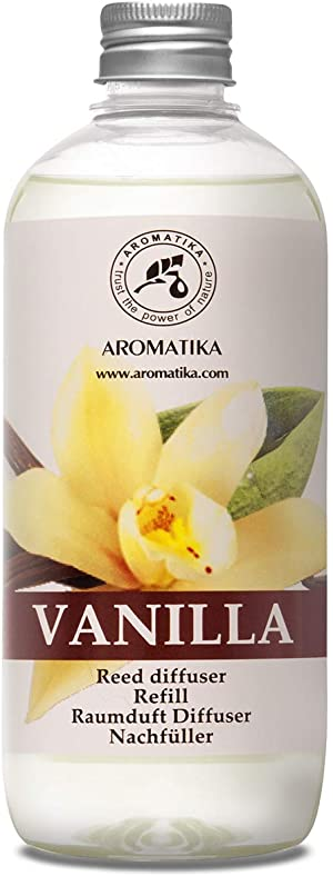 Vanilla Diffuser Refill w/Natural Essential Vanilla Oil 500ml - Intensive - Fresh & Long Lasting Fragrance - Reed Diffuser Oil - Best for Aromatherapy - SPA - Home - Office - Fitness Club