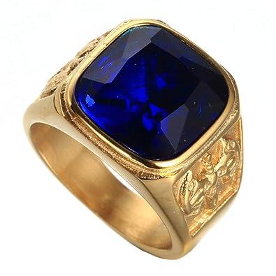 64ab2483a1e3 HIJONES Anillo de Oro para Hombre Acero Inoxidable con Piedra Gema Azul  Profunda Tamaño 17