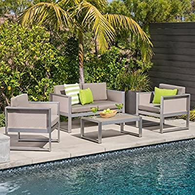 Great Deal Furniture Felix Island Outdoor 4 Seater Grey Mesh Chat Set with Silver Rust-Proof Aluminum Frame and Khaki Water Resistant Cushions - This four seater, rust-proof, light weight aluminum chat set is a wonderful addition to any patio, large or small. Featuring comfortable, water resistant cushions, this set has it all. Complete with two club chairs, a loveseat, and a table, you wont need to worry about your guests having seats or a place to put their drinks while you enjoy your time outdoor together. Take back the summer with this charming chat set. Includes: One (1) Loveseat, Two (2) Club Chairs, One (1) Table. Material: Outdoor Mesh. Frame Material: Rust-Proof Aluminum. Cushion Material: Water Resistant Fabric Composition: 100% Polyester. Mesh Finish: Grey. Frame Finish: Silver. Cushion Color: Khaki - patio-furniture, patio, conversation-sets - 61p HxSFHTL. SS400  -