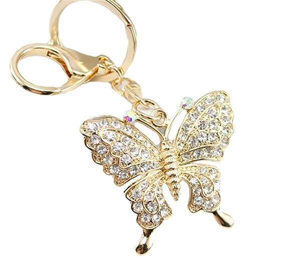 b1197a048e5 Amazon.com: Kissweet Gold Rhinestone Butterfly Keychain Purse Bag ...