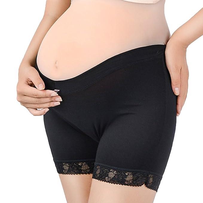 Juleya Pantalones Cortos de Embarazo 2PCS Mujeres Sobre el topetón Ropa Interior de Maternidad sin Costuras