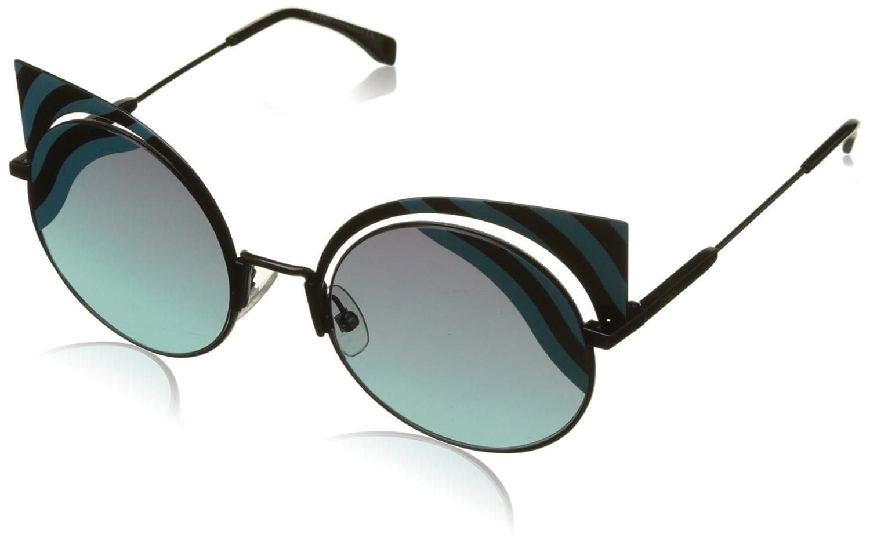 Fendi Hypnoshine Cateye Sunglasses in Matte Turquoise Black FF 0215/S 0LB 53 Mt Blk Turqu FF0215/SJF_0LB-53