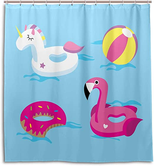 Amazon Com Gjianbing Bathroom Privacy Curtain Bright Unicorn Or Flamingo Floats In Pool Restroom Shower Curtain 66 X 72 Inch Machine Washable Waterproof Bathroom Curtains Kitchen Dining