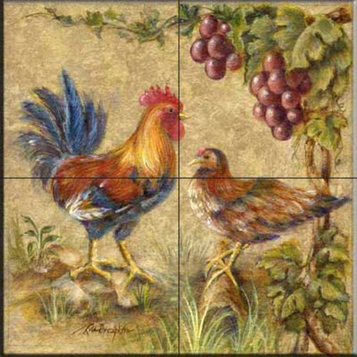 Ceramic Tile Mural - Rooster Duo - by Rita Broughton - Kitchen backsplash/Bathroom - Rooster Wall Tile