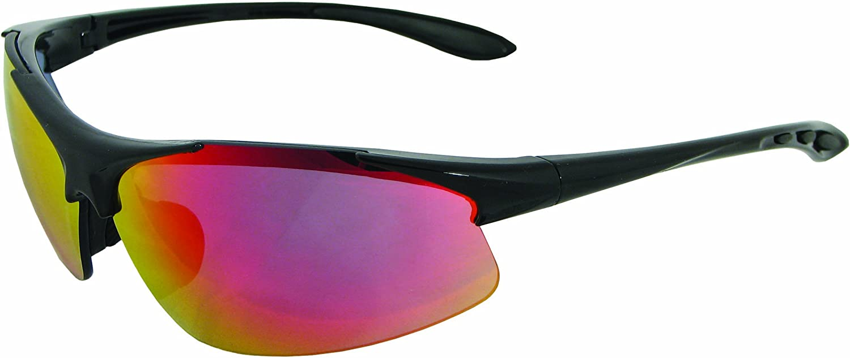 ERB 18611 Commandos Safety Glasses, Black Frame with Revo Red Lens