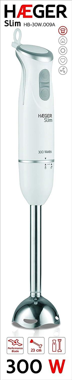 HAEGER SLIM - Batidora de mano de 300W, 2 interruptores, función turbo y lámina INOX de 5, 4cm.: Amazon.es