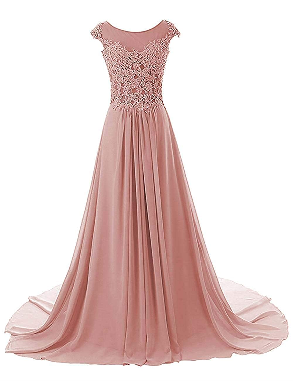 bluesh Pink Wanshaqin Women's Aline Lace Appliques Evening Party Cocktail Dresses Bridesmaid Gowns Prom Formal Dresses for Events Party