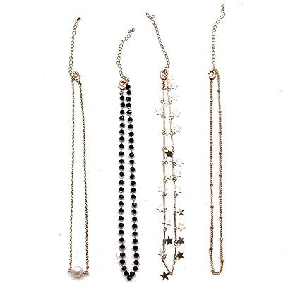 Amazon com: JETEHO Set of 4 Lucky Gold Star Pearl Crystal Choker
