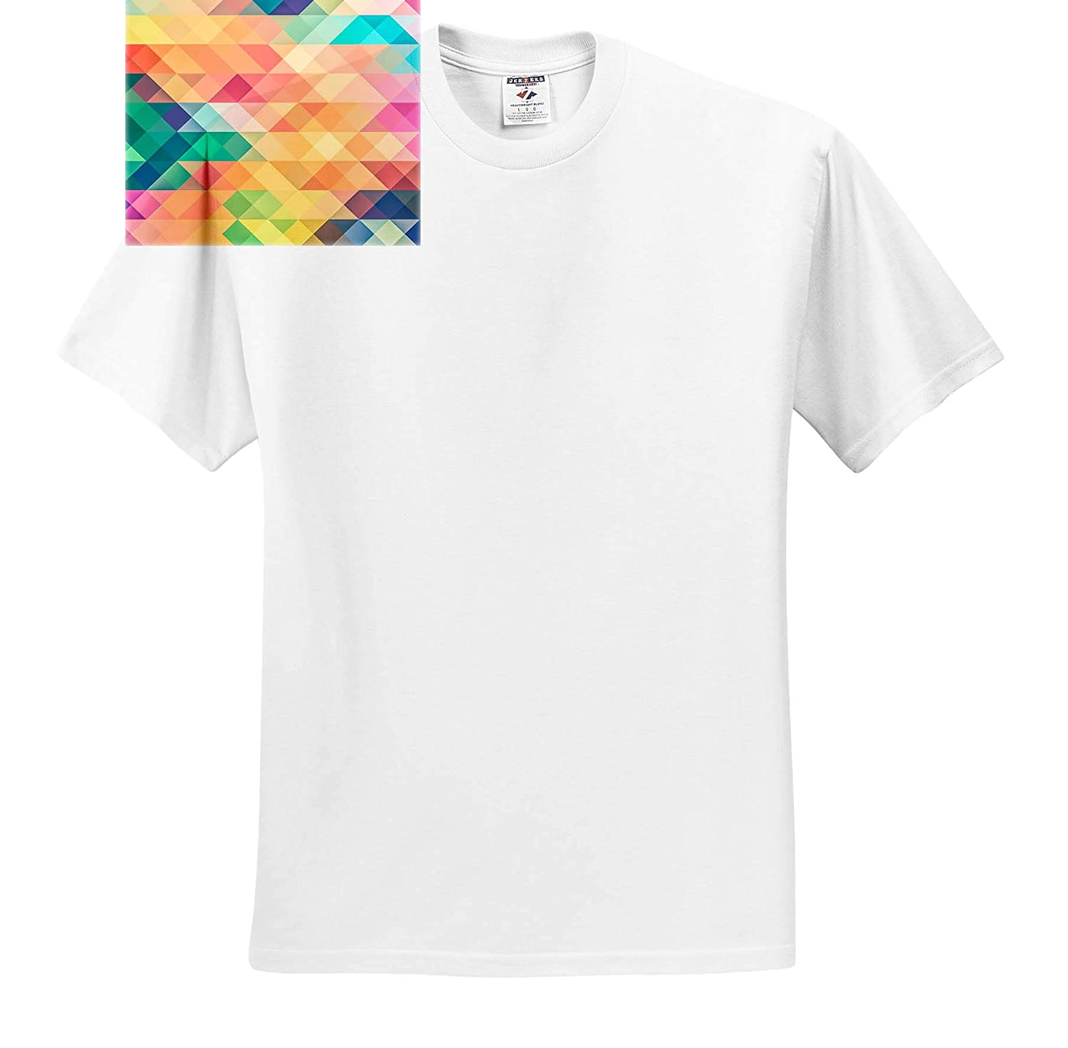 T-Shirts Image of Small Triangles in Aqua Pink and Yellow 3dRose Lens Art by Florene Digital Painting