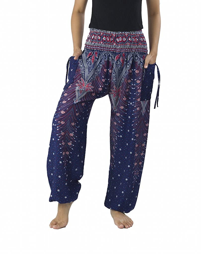Dark bluee Lannaclothesdesign Women's Smocked Waist Peacock Print Harem Pants Hippie Bohemian Style