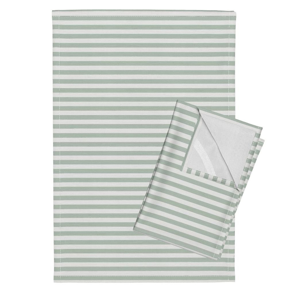 Roostery Stripe Mini Spa Green Gray Blue Tea Towels Mini Canopy Stripe in Spa by Willowlanetextiles Set of 2 Linen Cotton Tea Towels