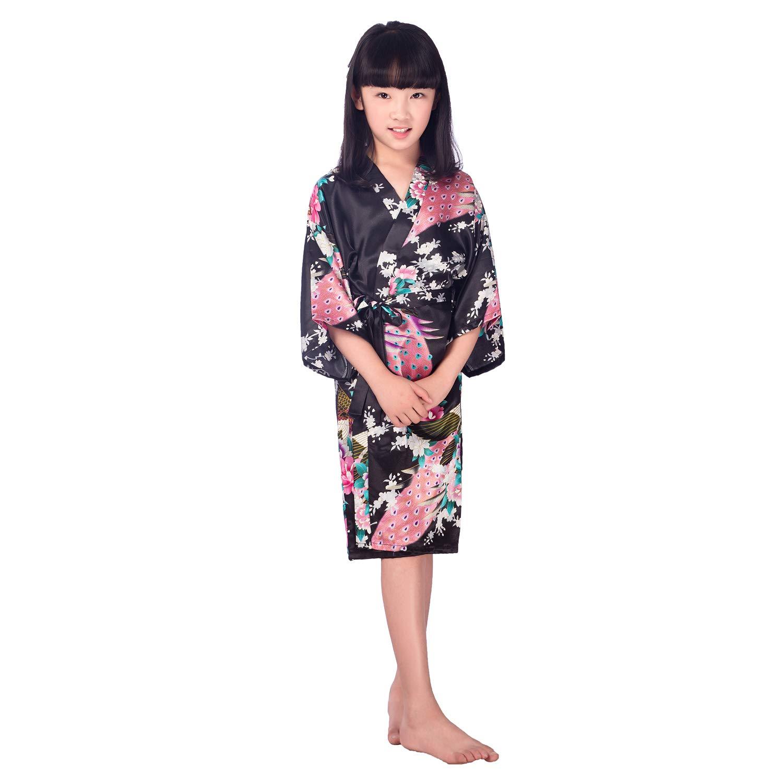 c8c5a3507e Hibote Children Girls  Satin Kimono Robe Peacock Bathrobe Nightgown for Spa  Party Wedding Birthday  Amazon.co.uk  Clothing