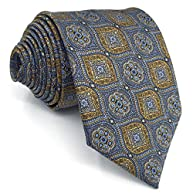 Shlax&Wing Grey Blue Yellow Neckties Mens Tie Business 57.5
