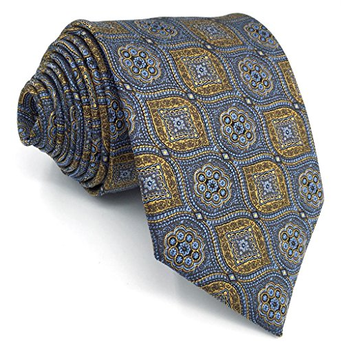 Shlax&Wing Grey Blue Yellow Neckties Mens Tie Business 57.5' 63' Extra Long