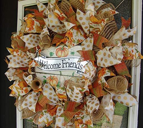 Designer Fall Pumpkins Deco Mesh Front Door Wreath, Thanksgiving Decor, Porch Patio Decoration, Indoor Outdoor, Unique Gift Idea