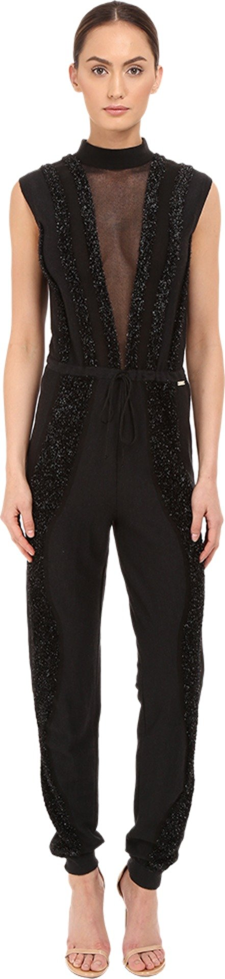 Just Cavalli Women's Knit Jumpsuit With Sheer Panel and Lurex Trim, Black, LG