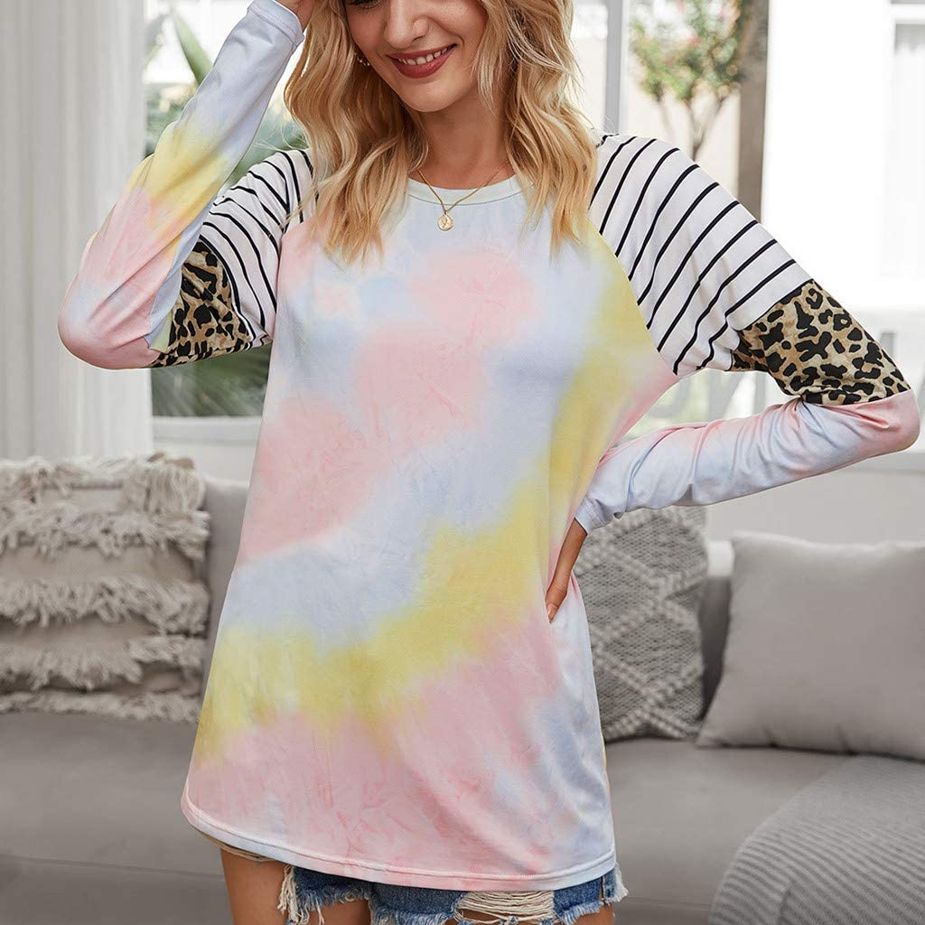 O-Neck Long Sleeve Top Shirt Tie-Dye Leopard Stripe Pullover Casual Loose T-Shirt Blouse F/_topbu Sweatshirts for Women