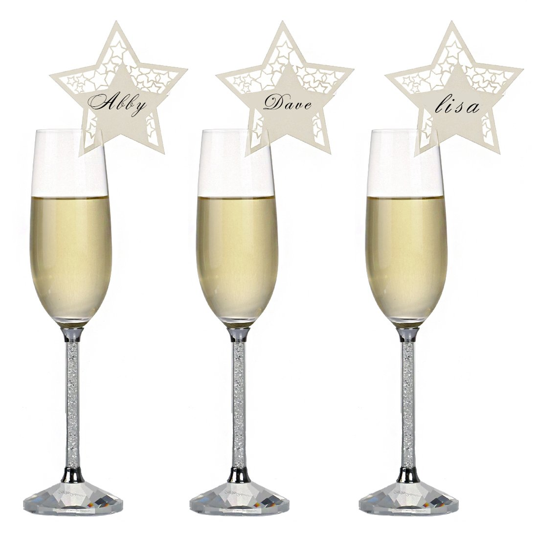 YUFENG Laser Cut Wine Glass Card Name Place Card Suitable Decorations for Wedding Birthday Party (10 Packages Gold Star) YUFENG CRAFTS MANUFACTURE CO. LTD