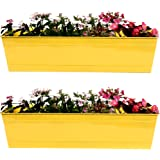 TrustBasket Rectangular Railing Planters (23-inch, Yellow, Pack of 2)
