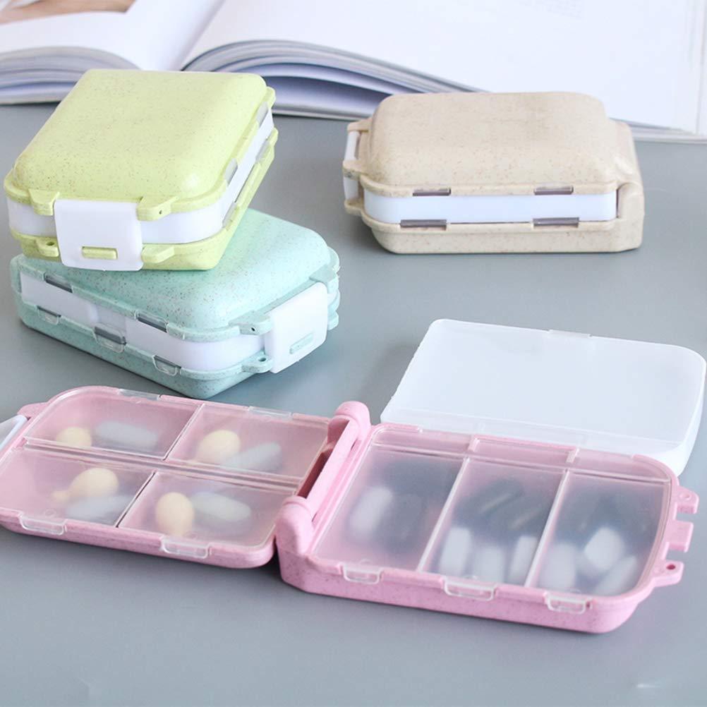 SUPVOX Dispenser per pillole da viaggio dispenser per medicinali portapillole portapillole portatile e portaoggetti contenitore per vitamina a 3 strati Beige