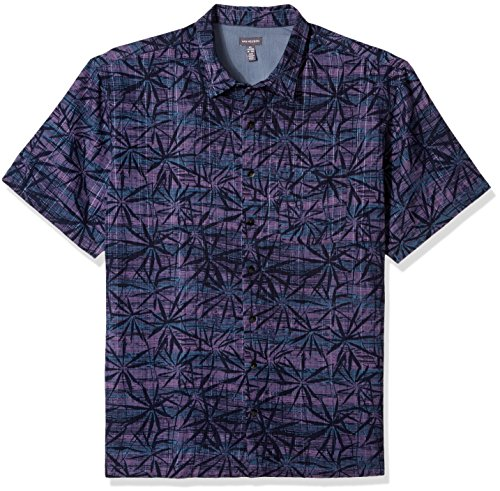 Van Heusen Men's Big and Tall Oasis Printed Short Sleeve Shirt, Purple Velvet, - Big Shirt Velvet