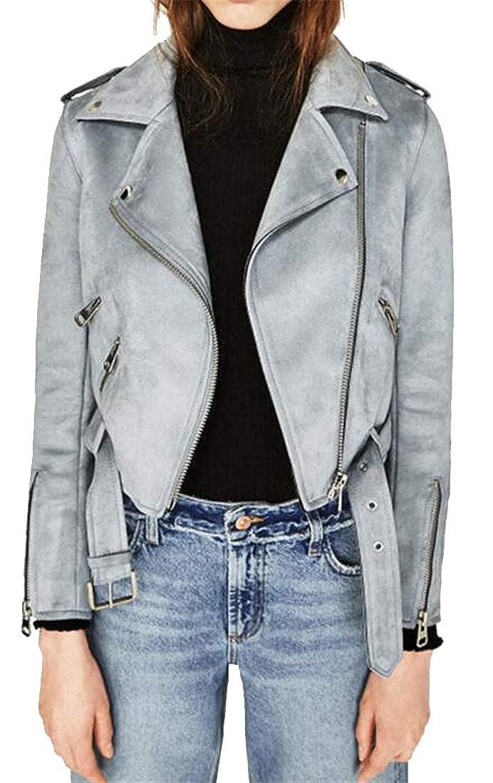 Grey Jofemuho Womens Belted Slim Biker Suede Classic MultiZip Jacket Coat Outerwear