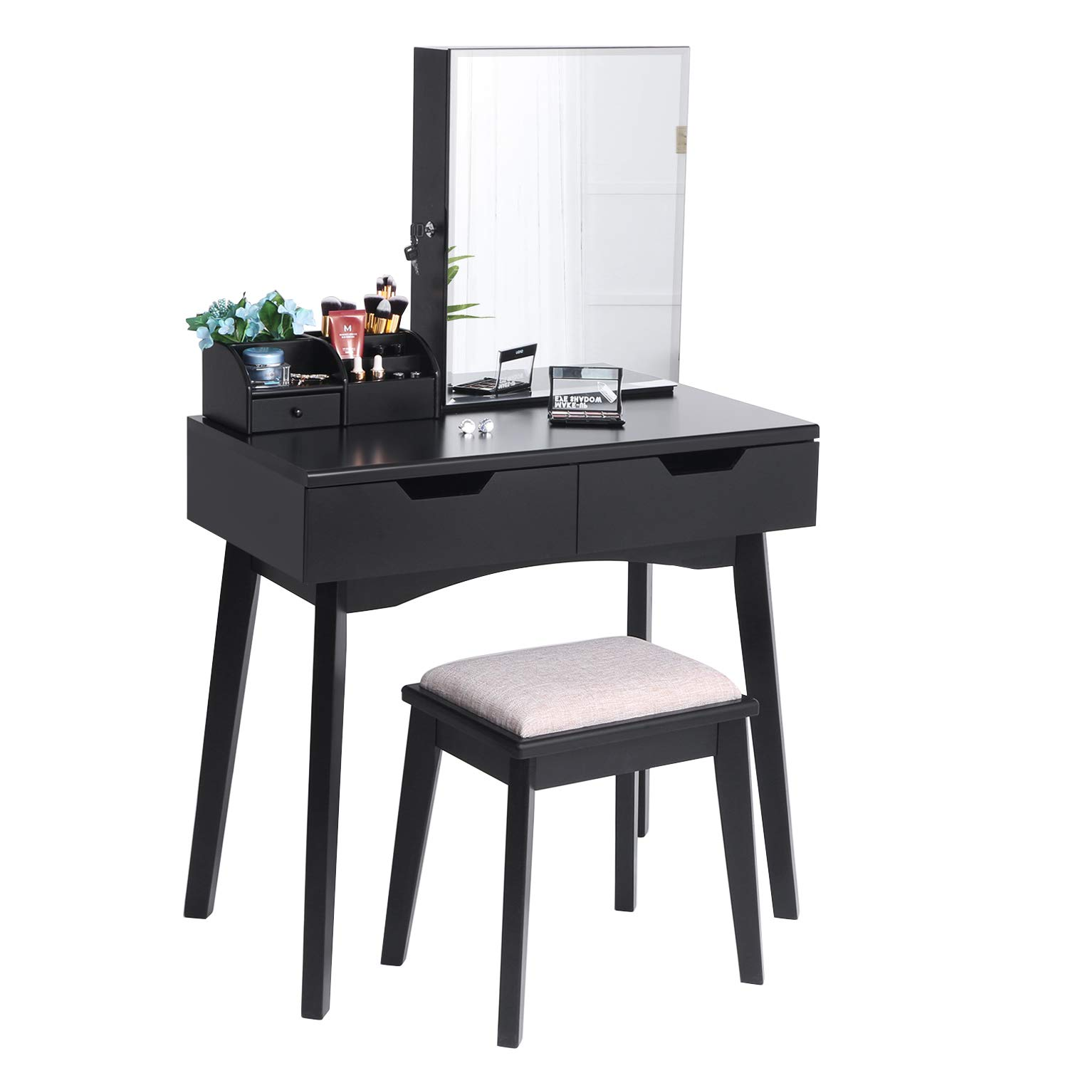 BEWISHOME Makeup Vanity Table Set, Lockable Jewelry Cabinet with Mirror, Makeup Organizer, Cushioned Stool, 2 Sliding Drawers Vanity Desk Dressing Table Black FST04H by BEWISHOME
