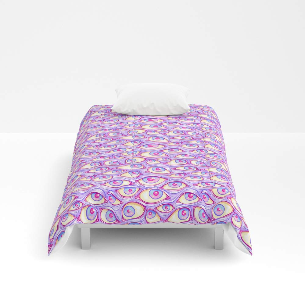 Society6 Comforter, Size Twin: 68'' x 88'', Wall of Eyes in Purple by paisleydrawrs