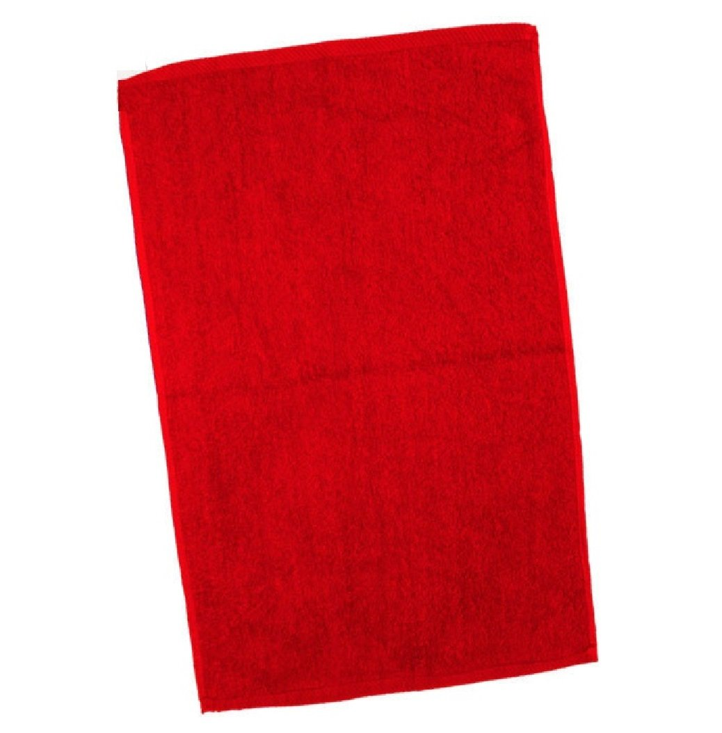 SHOPINUSA 50 Pack Economical 100% Cotton Fingertip Velour Towels - 11'' x 18'' (Red)