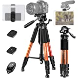 "JOILCAN 65""Camera Tripod for Canon Nikon Lightweight Aluminum Travel DSLR Camera Stand 11 lbs Load with Universal Phone/Table"