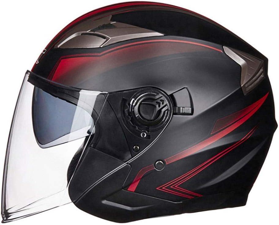 ダブルレンズ四季ユニバーサルヘルメットと男性と女性のための電気オートバイのバッテリーカーヘルメット (Color : 黒 1, Size : L)