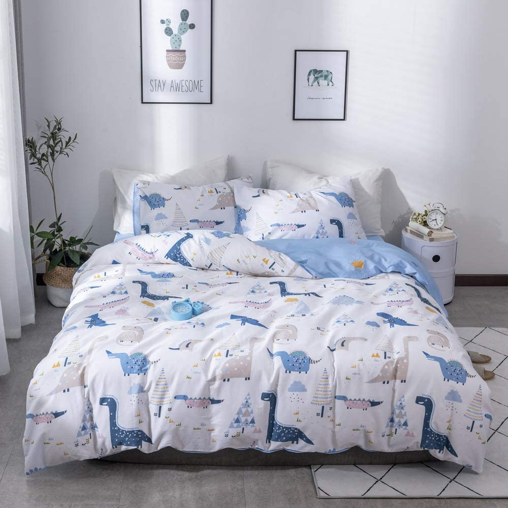 EnjoyBridal Dinosaur Comforter Cover Twin 100% Cotton Toddler Duvet Cover Twin with Zipper Closure Anti-Wrinkle Boys Twin Bedding Sets for Kids Teens White Quilt Cover, No Comforter