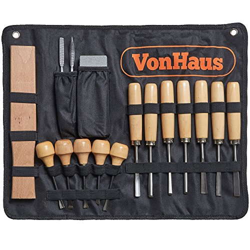 VonHaus 16pc Wood Carving Knife Tool Set with Gouge Chisels, Sharpening Stone and Mallet - Beginner Woodworking Chisels