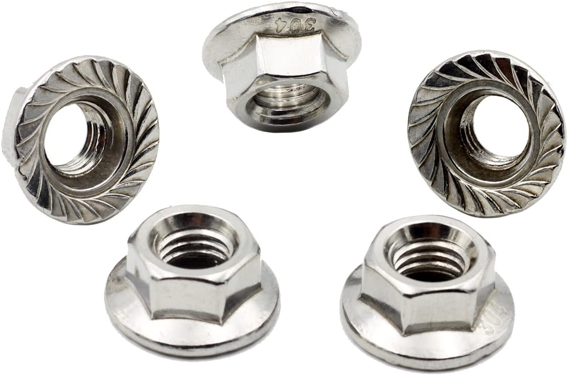 M12 Flange Nut,Left Hand,Stainless Steel,Pack 8 pcs