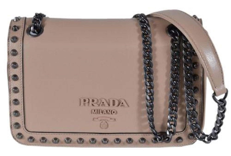 183d2bac4061 Prada Pattina Glace Calf Leather Cammeo Beige Pattina Studded Bag 1BD147:  Handbags: Amazon.com