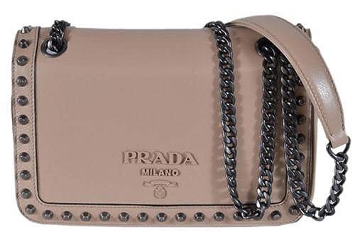 cc5618f6 Prada Pattina Glace Calf Leather Cammeo Beige Pattina Studded Bag ...