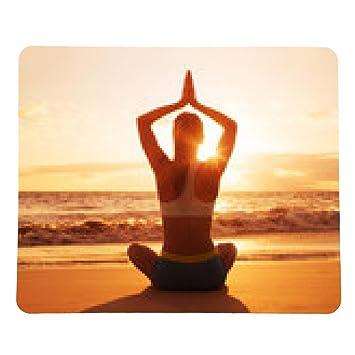 alfombrilla de ratón Yoga Mujer en la puesta del sol: Amazon ...
