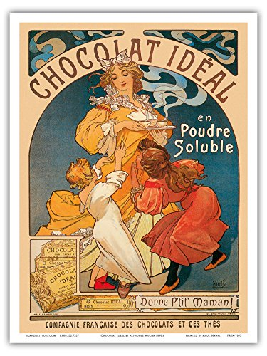 Chocolat Ideal - Cocoa - Cacao - Vintage Advertising Poster by Alphonse Mucha c.1890's - Master Art Print - 9in x 12in